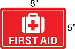 """eSplanade First Aid Sign Decal Sticker - Easy to Mount Weather Resistant Long Lasting Ink Size (8"""" x 5"""")"""