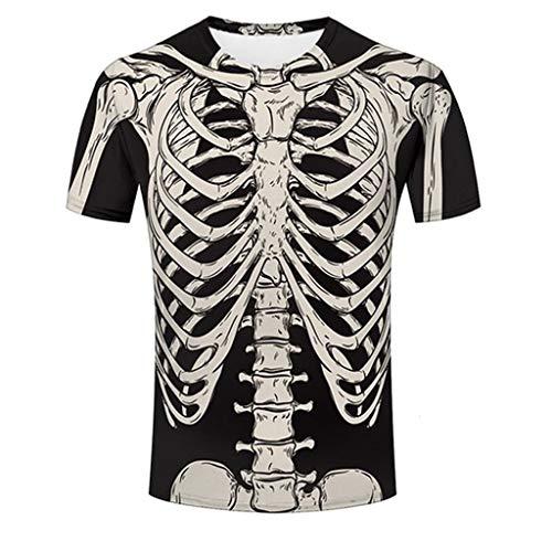 cinnamou Herren Unisex Tshirt Skelett Brust | grusel Party Geschenkidee | T-Shirt Karneval Party Halloween Lustig t-Shirt Herren Coole