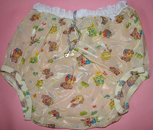 Abschließbare PVC Adult Baby Inkontinenz Windelhose Gummihose koala Bärchen gary (2XL)