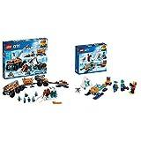 LEGO City- Base Mobile di Esplorazione Artica, Multicolore, 60195 & Team di esplorazione Artico, 60191
