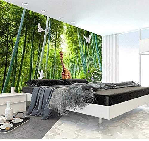 ZAMLE Personnalisé Photo Murale Girafe Blanc Pigeon Bambou Forêt Paysage Imperméable Toile Peinture Murale Décor À La Maison Affiche Papier Peint 3D, 200x140 cm (78.7 by 55.1 in)
