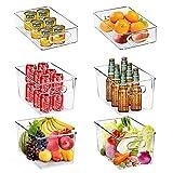 Cozywind Juego de 6 Cajas Organizadoras de Plástico para Nevera sin BPA, Recipiente para Guardar Alimentos, Organizador para Nevera, Cocina y Despensa Apto para Alimentos(4 Grandes / 2 Pequeños)