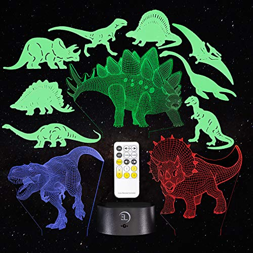 3D Dinosaur Night Light for Kids - 11 Pack of Dinosaur Lights 3D Illusion Decor - 7 Color Changing Lamp with Remote Control for Kids Bedroom