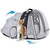SOURCER Mochila grande para transportar gatos, parte delantera y trasera, expandible, transparente, para perros pequeños de hasta 9 kg, mochila para gatos gordos.