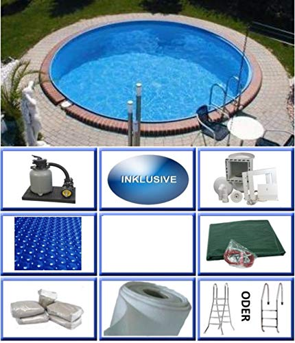 Summer Fun Stahlwandbecken Set Java Exklusiv rund ø 3,50m x 1,50m Folie 0,6mm All Inklusive Set Pool Rundpool / 350 x 150 cm Stahlwandpool
