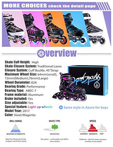 2pmSportsジュニアインラインスケート子供用Inlineskate初心者向け本格的な仕様サイズ調整可能3サイズ選べる男女共用(パープル,M)