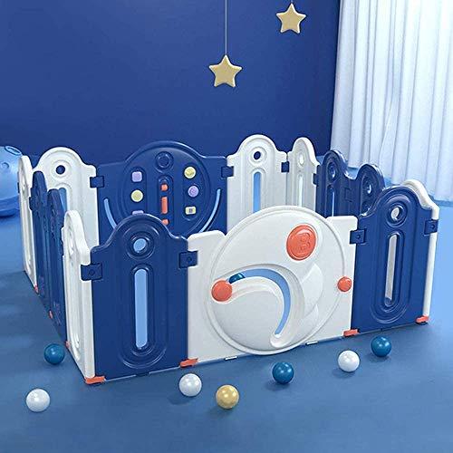 Baby Laufgitter Dripex Laufstall 14 Paneele Faltbarer Laufstall mit Tür und Spielzeug, Absperrgitter aus Kunststoff Schutzgitter für Toddler, Krabbelgitter im Innen- und Außenbereich, Blau