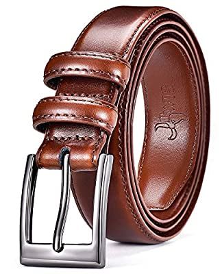 DWTS Mens Belts Leather Classic Casual Dress Belt with Single Prong Buckle