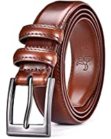 DWTS Men's Genuine Leather Classic Casual Dress Belt with Single Prong Buckle P01 Brown, Strap:38