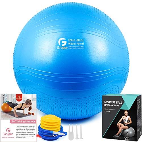 Gruper Yoga Stabilitätsball–Extra dicker Gymnastikball für Fitness Balance Workout–Anti-Burst Stuhl für Zuhause und Büro Schreibtisch–inkl. Handpumpe und Workout Guide Zugang (Blau, 75cm (30 inch),XL)
