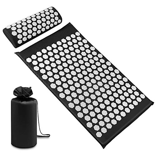 SZRWD Acupressure Mat, Acupressure Mats, Acupressure Set, Made of Pure Cotton, PS, 21D Sponge, Used for Fitness, Massage, Yoga etc. (Black)