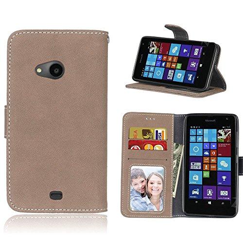 pinlu Hohe Qualität Retro Scrub PU Leder Etui Schutzhülle Für Nokia Microsoft Lumia 535 Lederhülle Flip Cover Brieftasche Mit Stand Function Innenschlitzen Design Beige
