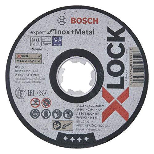 Bosch Professional Expert - Disco de corte recto (para inoxidable y metales, X-LOCK, Ø115 mm, diámetro del orificio: 22,23 mm, grosor:1 mm)