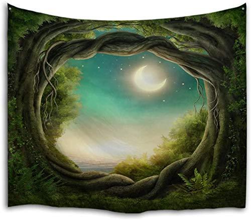 QiYI - Tapices decorativos, Tapiz de tela de poliéster para decoración de pared, paisaje natural, para dormitorio de estudiantes, habitación, comedor, diseño, Fantasy Forest, 229x153cm