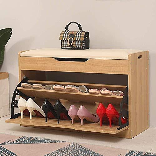 JXQ Cars Modernes unbedeutender Schuhschrank mit Flip-Schublade und Hebevorrichtung, Schuhschrank, Ottomane Schuhhalter mit Fußauflagen für Korridor Schlafzimmer,Beige