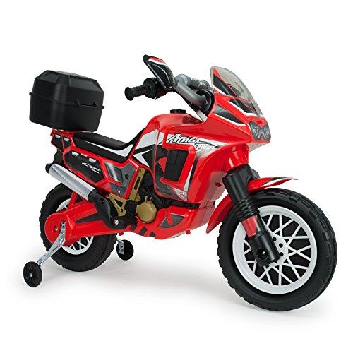 INJUSA - Moto Africa Twin 6V avec Licence, avec Sac Arrière et Roues Stabilisatrices Recommandée pour Les Enfants +3 Ans, Rouge