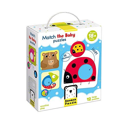Banana Panda - Match The Baby Puzzle Set, Steckpuzzles für Anfänger & Zuordnungsaktivität für Kinder ab 18 Monaten