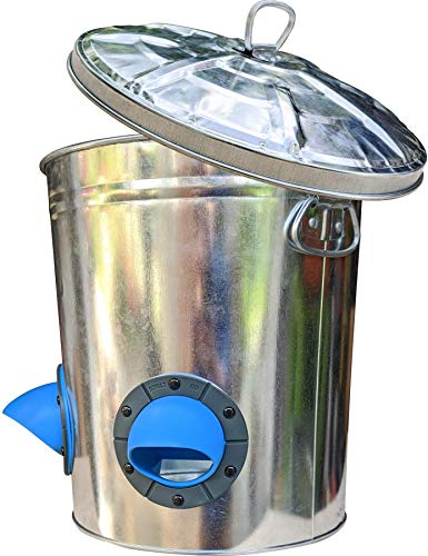 STOLTCO Bucket Chicken Feeder - Durable No Waste Rain-Resistant Galvanized Metal Feeder Holds 22lbs Feed (Now Fully Assembled, Lid Included)