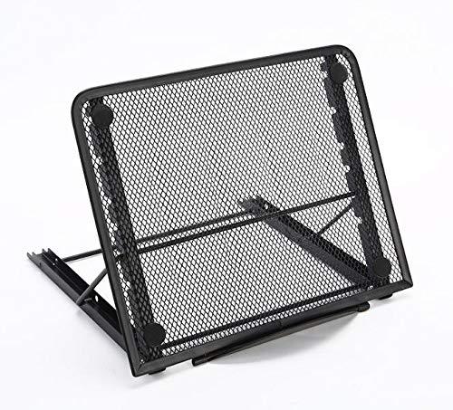 Q4 Soporte para portátil Plegable Portátil; Soporte Vertical portátil, Tableta o Soporte para Libros ventilado de Malla. (Negro)