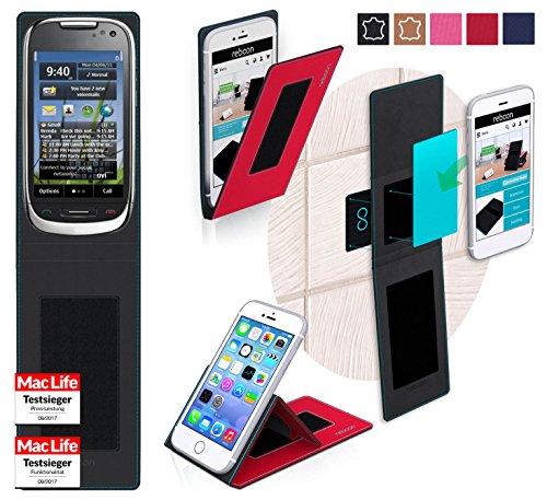 reboon Custodia per Nokia C7 Astound | in Rosso | Cover Case Caso Multifunzionale