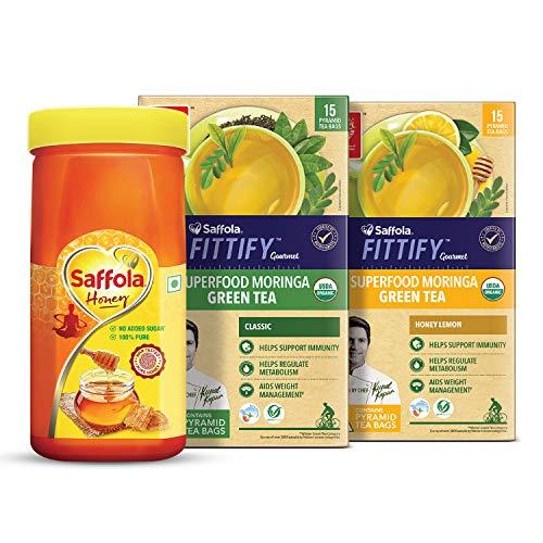 Saffola FITTIFY Gourmet Saffola Pure Honey 500g + Superfood Moringa Green Tea Pack of 2(Combo)