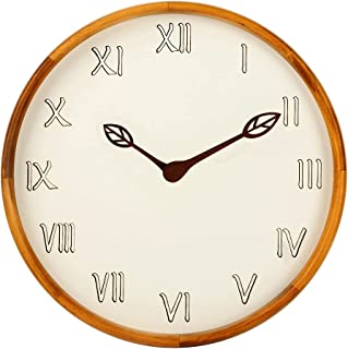 AROMUSTIME 12 Inches Round Wood Wall Clock with Hollow Roman Numerals, Whisper Quiet, Wood Leaf Pointer&No Glass Cover, fo...