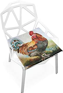 TSWEETHOME Comfort Memory Foam Square Chair Cushion Seat Cushion with Watercolor Rooster Chair Pads for Floors Dining Office Chairs