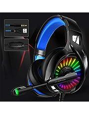 Thlevel Spelheadset med mikrofon PS4-headset Xbox One-headset med trådbunden RGB-lampa, trådbundet PC-headset med 7.1 stereo surroundljud USB 3,5 mm överöronhörlurar för PC, PS4, bärbar dator, PS5