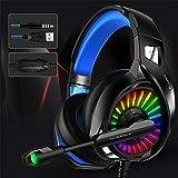 Thlevel Auriculares Gaming Premium Stereo con Microfono para PS4 PC Xbox One, Microfono Unidireccional, Cascos Gaming con Sonido Envolvente y Reducción de Ruido, Diadema Acolchada y Ajustable, 3.5mm