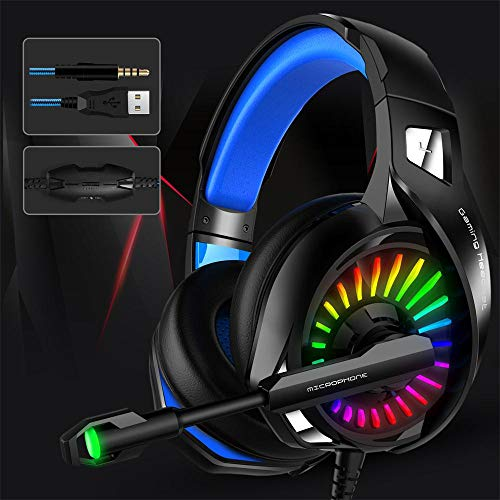 Thlevel Cuffie Gaming per PS4, Cuffie da Gioco con Microfono e LED, Audio Cavo 3,5mm e Controllo del Volume Bass Stereo, Cuffie da Gaming per PS4, Xbox One, Nintendo Switch, PC, Mac, Smartphone