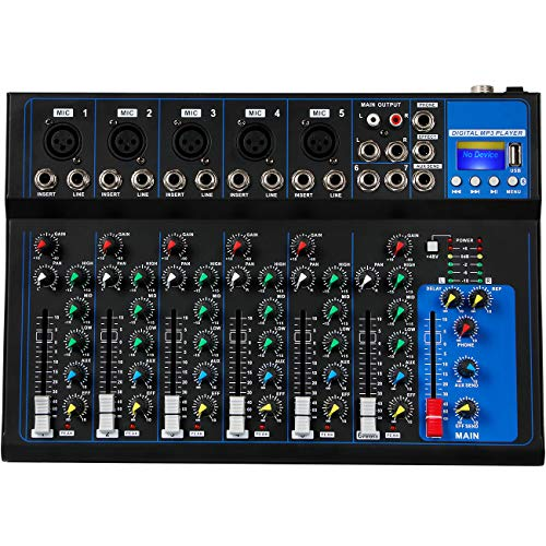 Depusheng 7 Channel USB Digital Karaoke Mixer Bluetooth Live Studio Audio Mixing Console Microphone Sound Card for DJ Wedding Party KTV