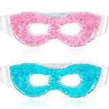 2 Pieces Gel Bead Eye Mask, Hot/Cold Sleep Eye Mask Pink and Blue Reusable Gel Eye Mask with Eye Holes