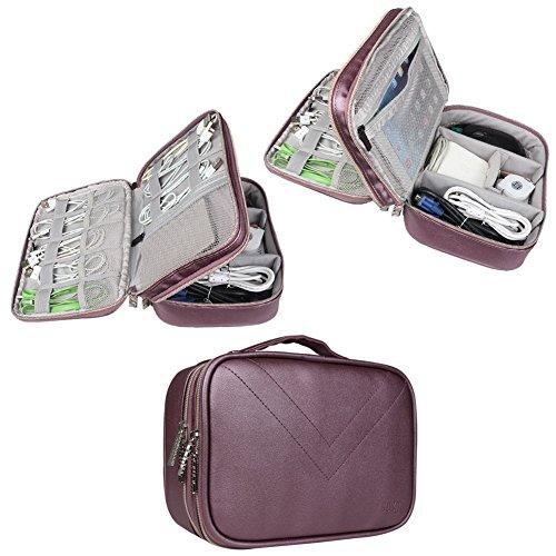 Electronics Travel Organizer-BUBM Universal Waterproof Travel Gear Organizer Cable Organizer Storage Bag for Various USB, Charger, Phone and iPad Mini-Purple
