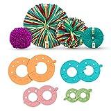 Curtzy Machine a Pompon en Plastique (Lot de 4) - 4 Tailles (3,5/5,5/7 et 9 cm) - Kit Pompons Loisirs Creatifs Réutilisable pour Laine et Fil - Enfants et Adultes