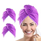 YoulerTex Microfiber Hair Towel Wrap for Women, 2 Pack 10 inch X 26...