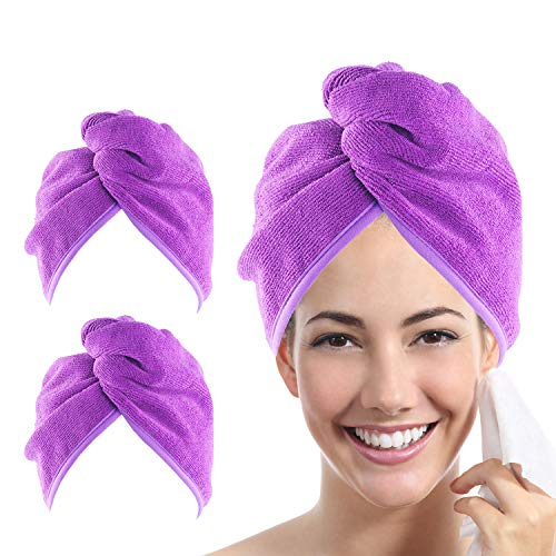 YoulerTex Microfiber Hair Towel Wrap for Women, 2 Pack 10 inch X 26 inch, Super Absorbent, Quick Dry Hair Turban for Drying Curly, Long & Thick Hair (Purple)