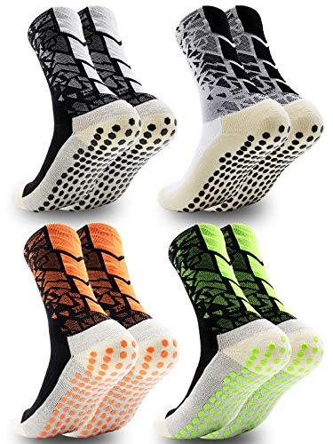 Dee Plus rutschfeste Fußball Socken Anti Rutsch Sportsocken | One Size EU 38-46 | Grip Fußballsocken Tape Fussball Socken | Basketballsocken Yoga Socken Noppen Sohle Damen & Herren