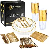 Gold Plastic Plates for Parties -(150 Piece Set), Elegant Disposable Plastic Silverware, Plastic Plates for Wedding, Plastic Dinnerware Set, Heavy Duty Gold Party Plates Forks Spoons Knives Cups Set