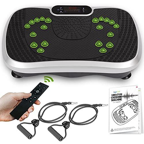 WeightWorld Plataforma Vibratoria Fitness - Máquina de Ejercicio y Masajes, Entrenamiento en Casa, con Altavoz Bluetooth, Mando a Distancia y Gomas Elásticas Fitness, 99 Niveles ✅