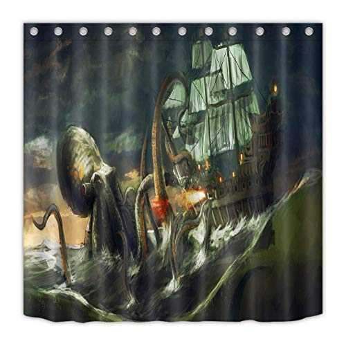 123456789 Cortina de ducha impermeable hecha de material de poliéster para barcos de ataque de pulpo gigante de monstruos marinos.