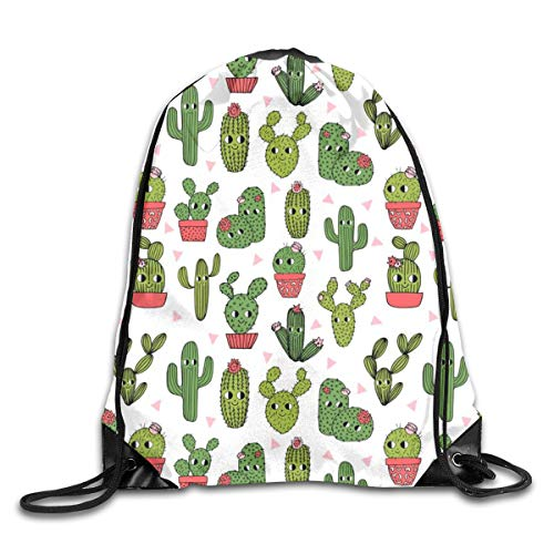 Cactus Happy Cactus Cute Funny Summer Succulent Cacti Plants Drawstring Gym Bag for Women and Men Polyester Gym Sack String Backpack for Sport Workout, School, Travel, Books 14.17 X 16.9 inch