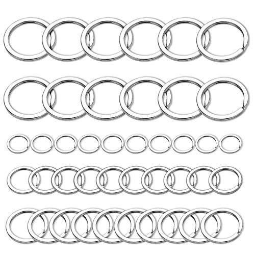 FANDAMEI 40 Pcs Split Key Rings - 15/20/25/32mm Flat Key Rings Bulk for Crafts, 1 Inch Nickel Plated Silver Key Rings for Jewelry, 1.25 Inch Metal Key Chain Rings Bulk Small Keyring for Keychain