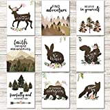 Outus 9 Pieces Woodland Inspirational Quote Wall Art Posters Forest Animals Bible Verse Posters Unframed Motivational Phrases Wall Prints for Kids Room Home Decoration