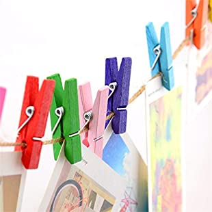 50 Pcs Wicemoon 3.5CM Color Small Clip Wooden Photo Clips Clothes Paper Multicolor Pegs Star Shape Wooden Craft Clips Mini Clothespins Card Paper Pegs