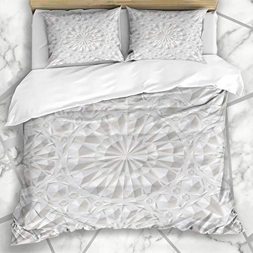 Juegos de fundas de edredón Gris perla Árabe Blanco Envolvente Diseño ornamental Estilo Relieve Techo Geométrico Futurista Ropa de cama de microfibra real con 2 fundas de almohada Cuidado fácil Antial