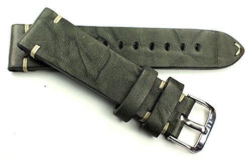 RIOS 1931 20mm Herren Leder Deutsch Uhrenarmband Vintage Retro Look Pilot grau