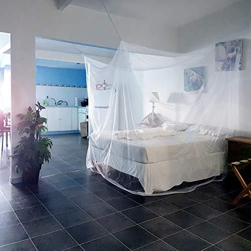 noorsk® Moskitonetz für Doppelbett   XXL Betthimmel   Mückennetz 200 x 200 cm groß   Kastenform   Insektenschutz - Weiß - 200x200cm