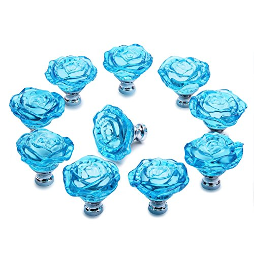 Knobs, PUQU 10Pcs 30mm Crystal Glass Rose Shape Cabinet Knobs Cupboard Drawer Pull Handles,Light Blue