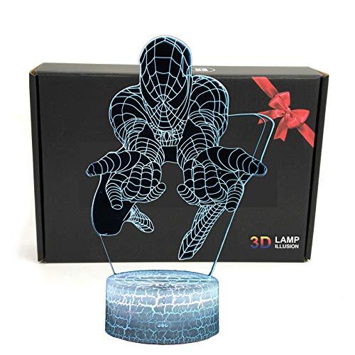 TriProC Led superhéroe 3D ilusión óptica Smart 7 Colores lámpara de Mesa de luz Nocturna con Cable de alimentación USB (Spiderman) Rojo