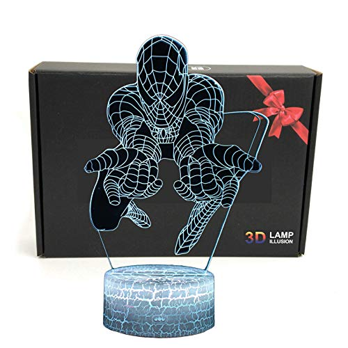 LED Superheld 3D-Lampe - Optische Illusion, intelligentes Nachtlicht, Tischlampe mit USB-Stromkabel, 7 Farben (Spiderman)